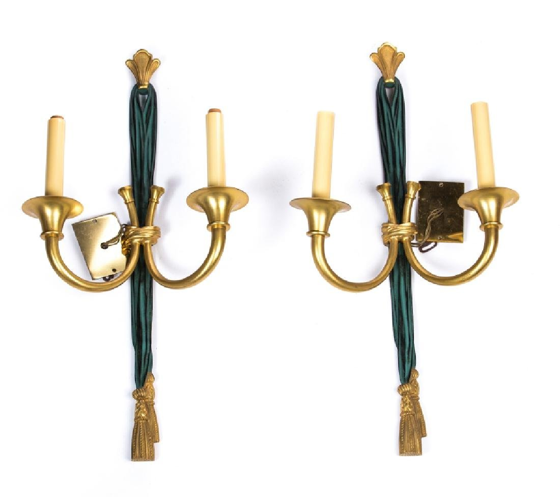 PAIR OF BRONZE & PAINTED 2 ARM WALL SCONCES