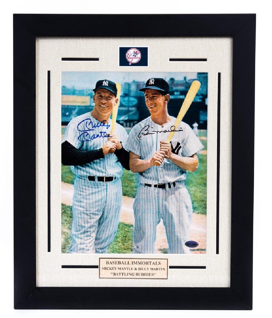 MICKEY MANTLE & BILLY MARTIN SIGNED PHOTO FRAMED