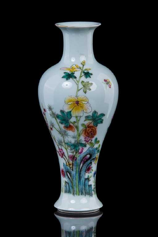 Chinese Famille Rose Porcelain Bud Vase