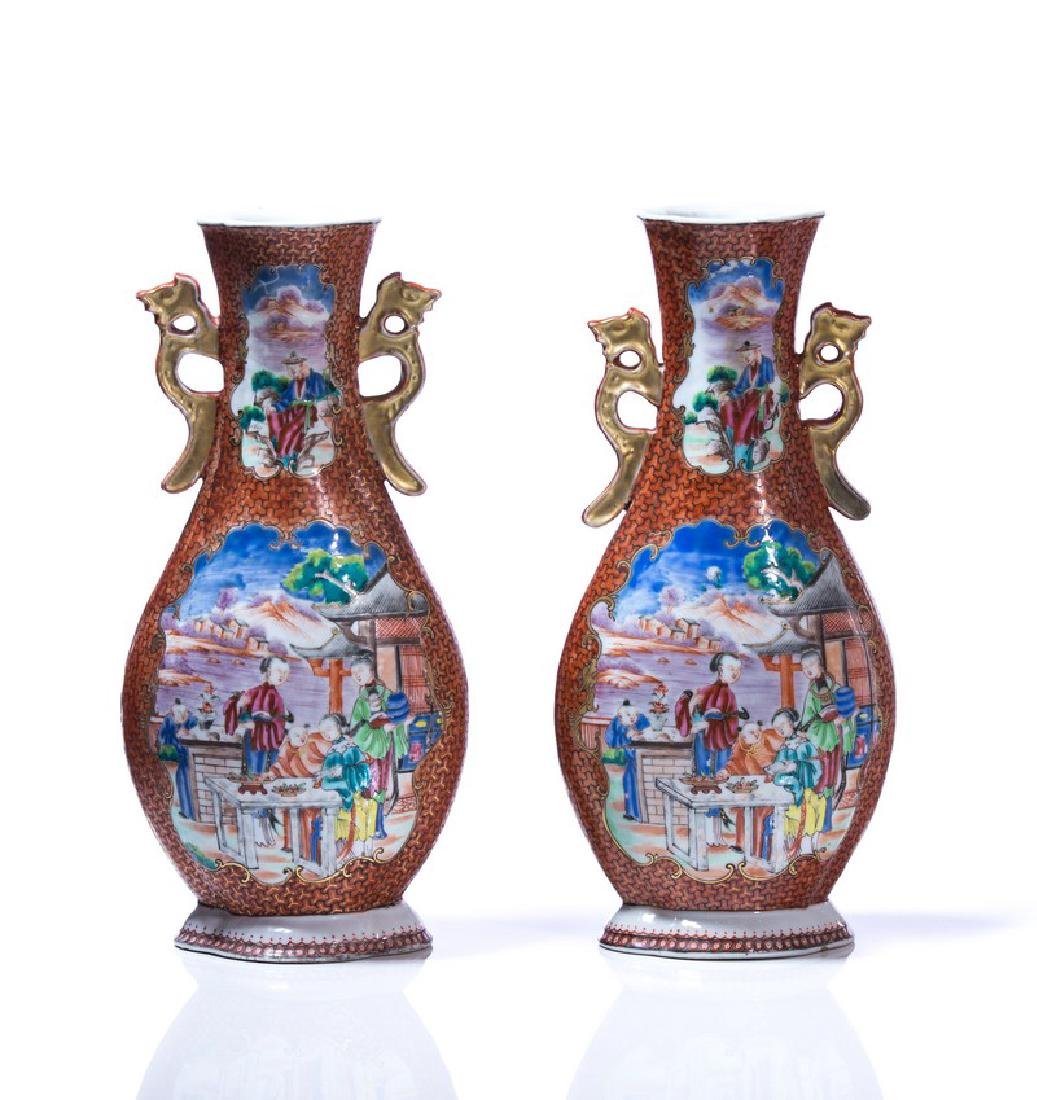 PR CHINESE 2 HANDLED HAND PAINTED PORCELAIN VASES