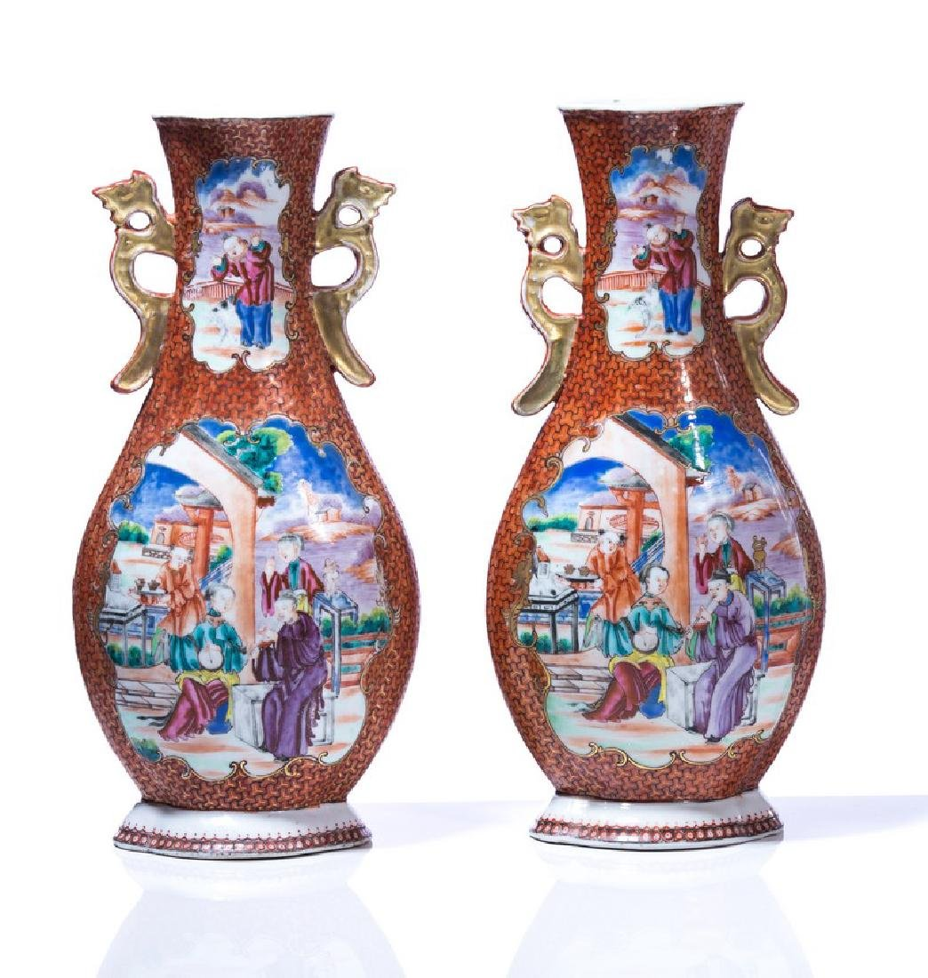 PR CHINESE 2 HANDLED HAND PAINTED PORCELAIN VASES - 3