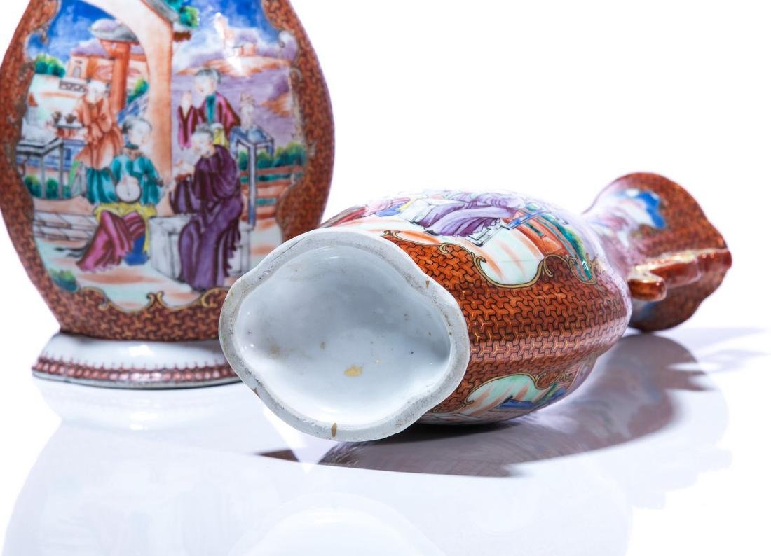 PR CHINESE 2 HANDLED HAND PAINTED PORCELAIN VASES - 5