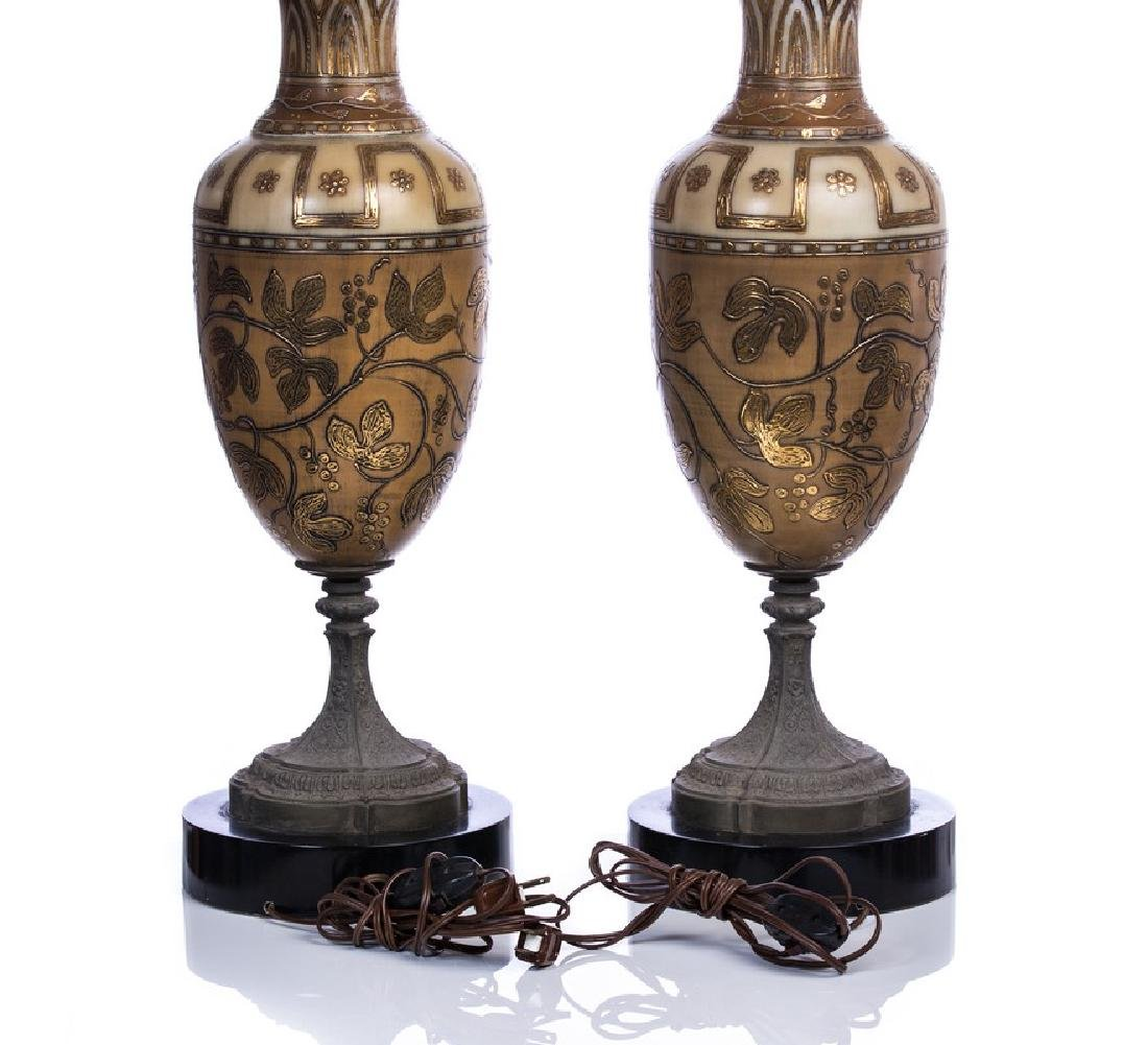 PAIR OF ART DECO HAND PAINTED GLASS LAMPS - 3
