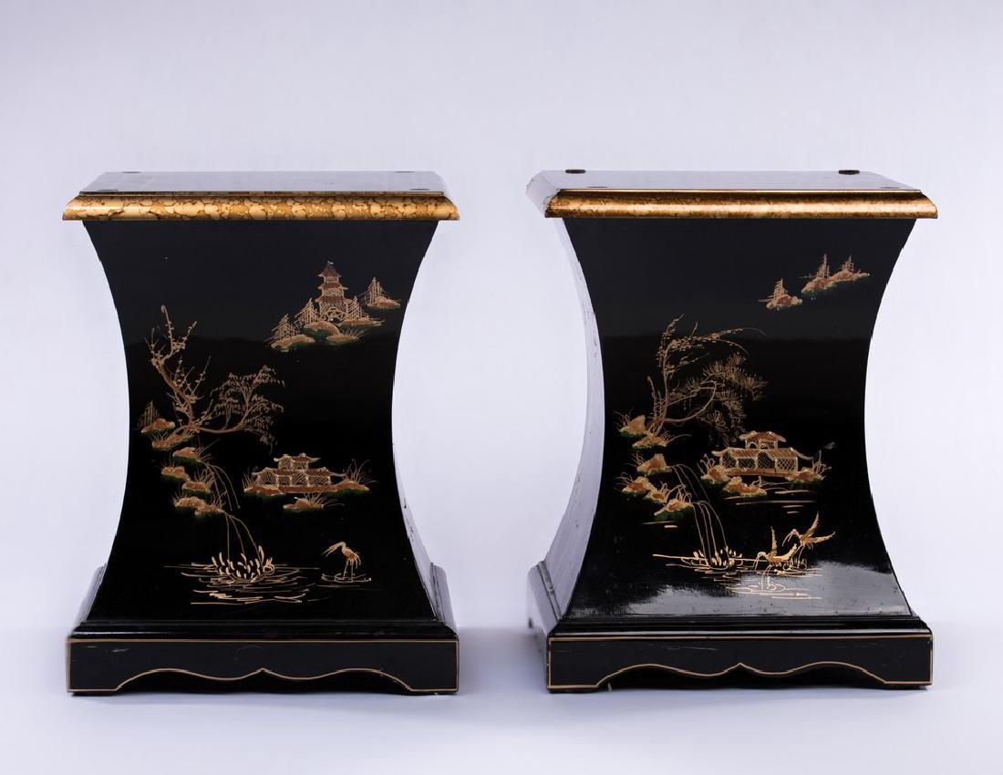 PAIR CHINESE BLACK LACQUER PEDESTAL TABLES