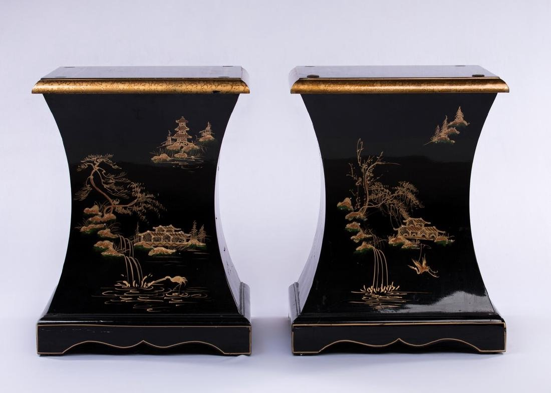 PAIR CHINESE BLACK LACQUER PEDESTAL TABLES - 3