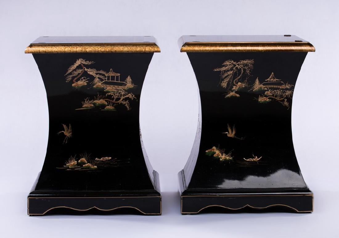 PAIR CHINESE BLACK LACQUER PEDESTAL TABLES - 4