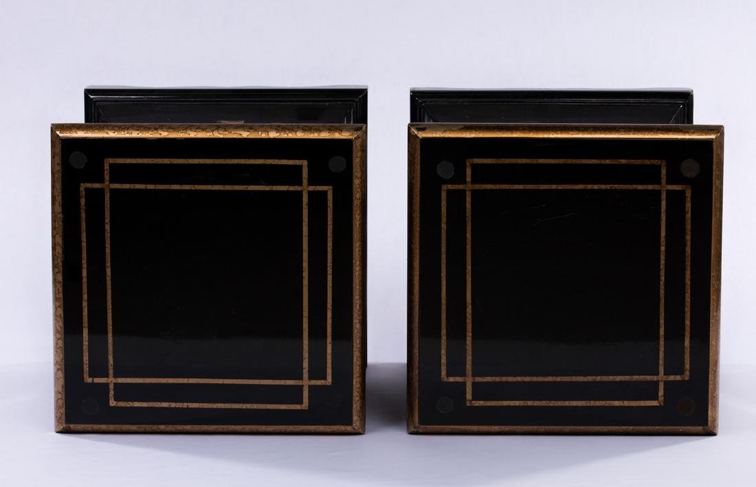 PAIR CHINESE BLACK LACQUER PEDESTAL TABLES - 5