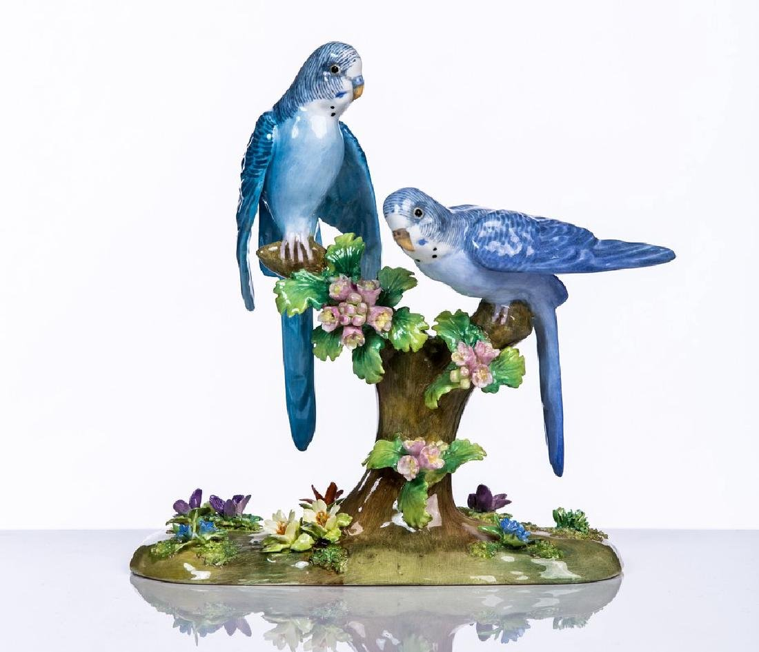 STAFFORDSHIRE PORCELAIN LOVE BIRDS SIGNED