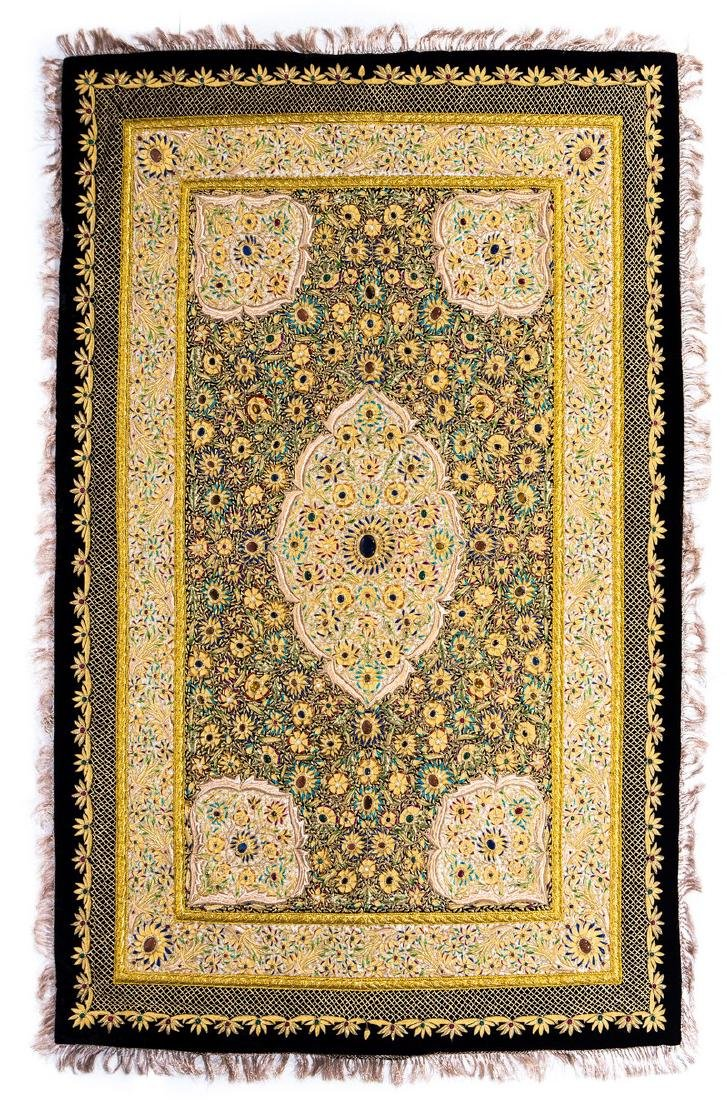 PERSIAN HAND MADE GOLD THREAD & JEWELED RUG