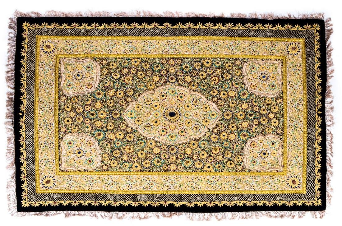 PERSIAN HAND MADE GOLD THREAD & JEWELED RUG - 2