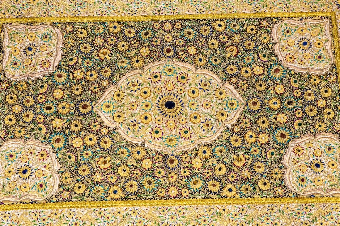PERSIAN HAND MADE GOLD THREAD & JEWELED RUG - 3