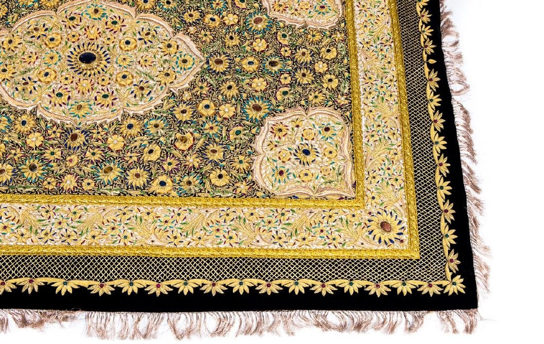 PERSIAN HAND MADE GOLD THREAD & JEWELED RUG - 4