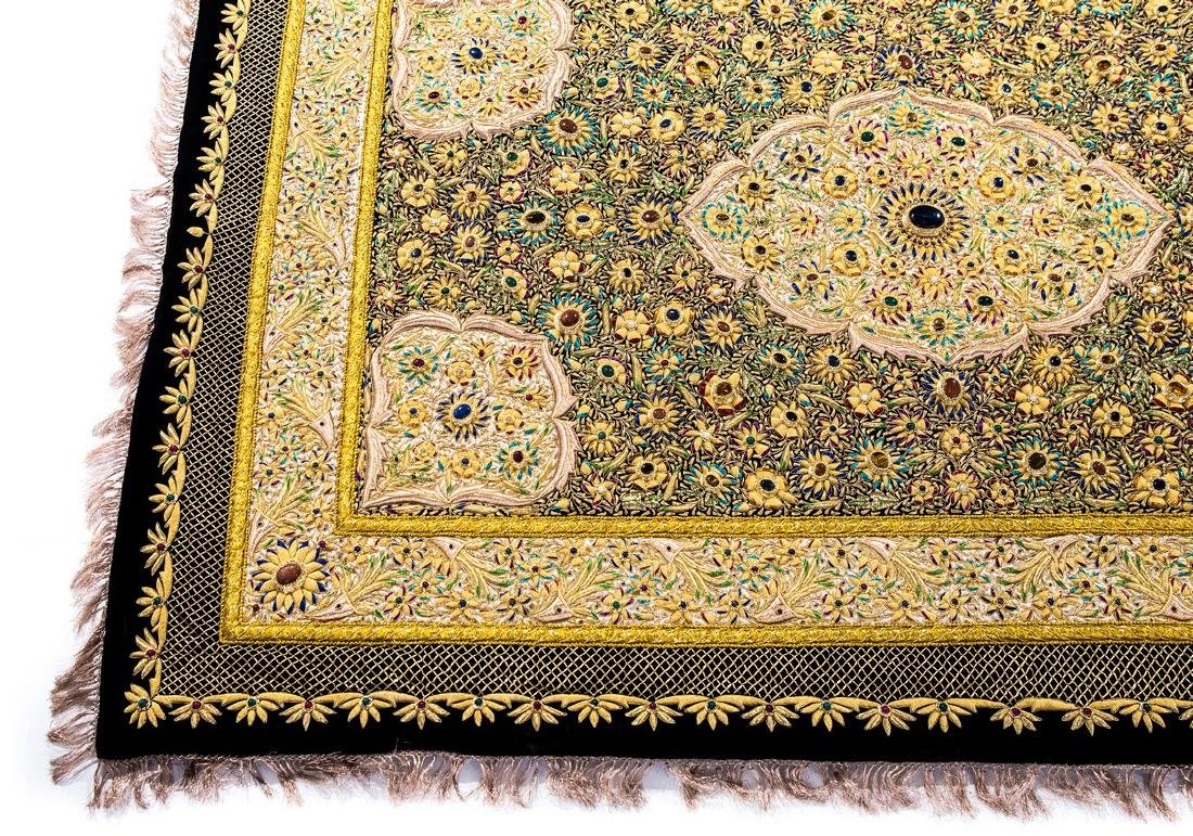 PERSIAN HAND MADE GOLD THREAD & JEWELED RUG - 5