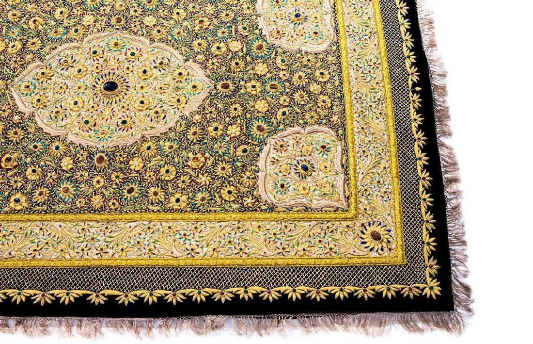 PERSIAN HAND MADE GOLD THREAD & JEWELED RUG - 6
