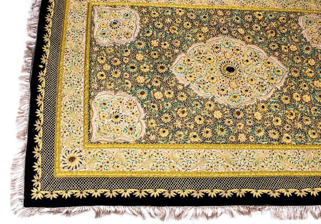 PERSIAN HAND MADE GOLD THREAD & JEWELED RUG - 7