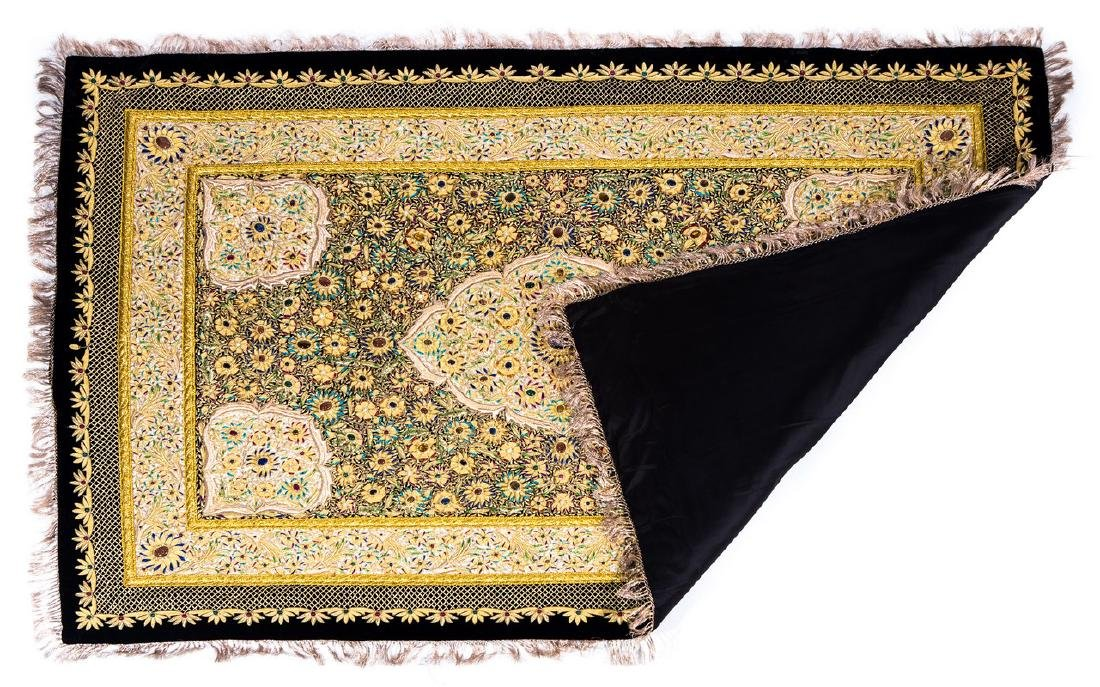 PERSIAN HAND MADE GOLD THREAD & JEWELED RUG - 8
