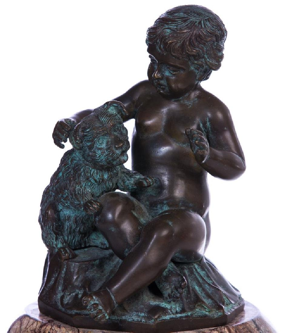 BRONZE 2 FIGURE GROUP ON MARBLE BASE - 4