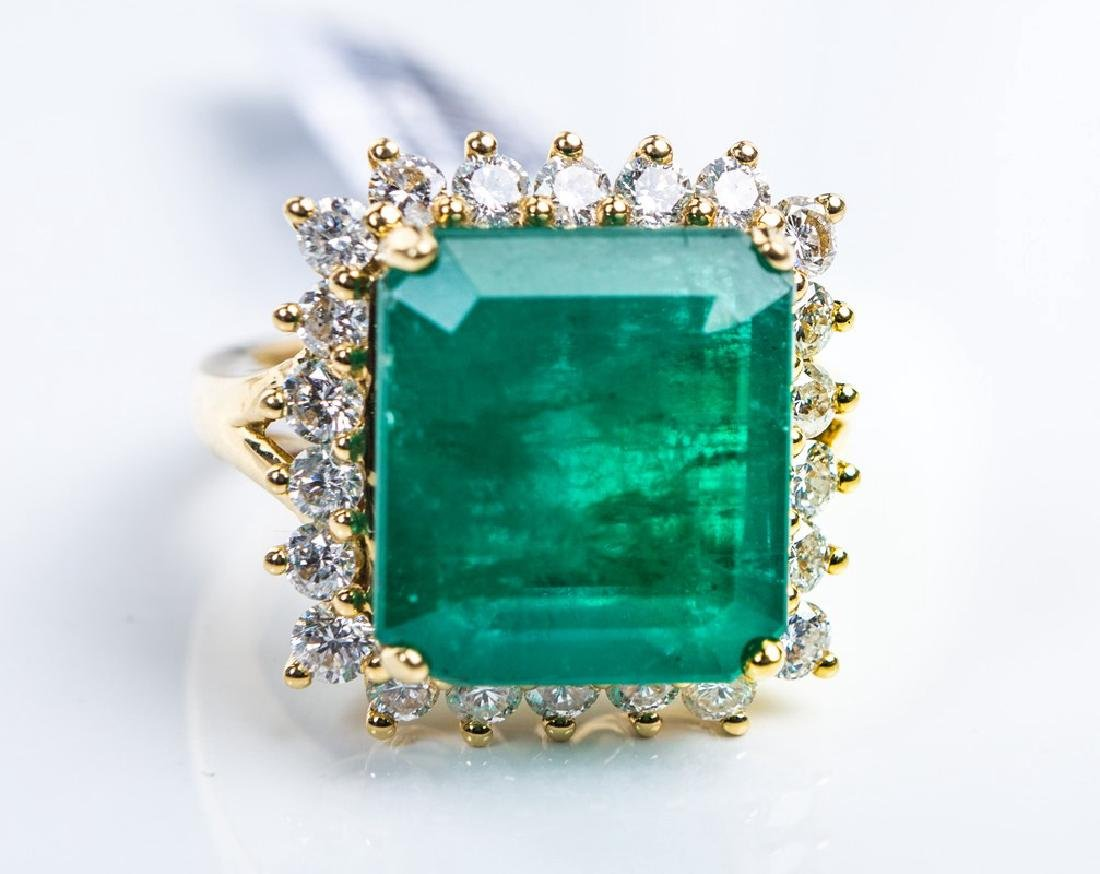 18KY EMERALD RING - 2