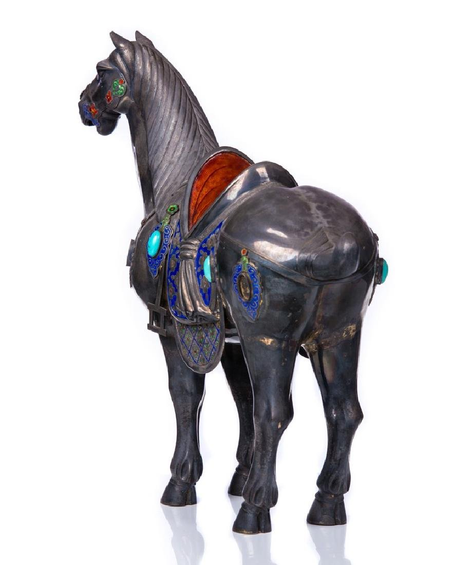 CHINESE 925 SILVER & JEWELED HORSE - 3