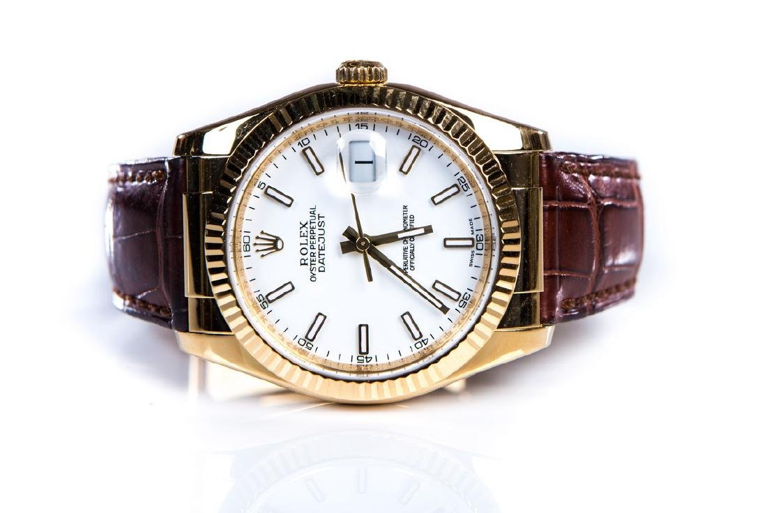 ROLEX DATEJUST 18KT WHITE FACE LEATHER BAND WATCH