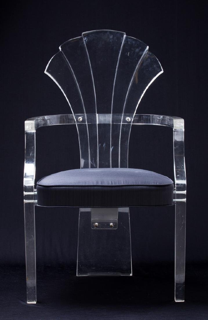 SET OF 6 LUCITE FAN BACK CHAIRS