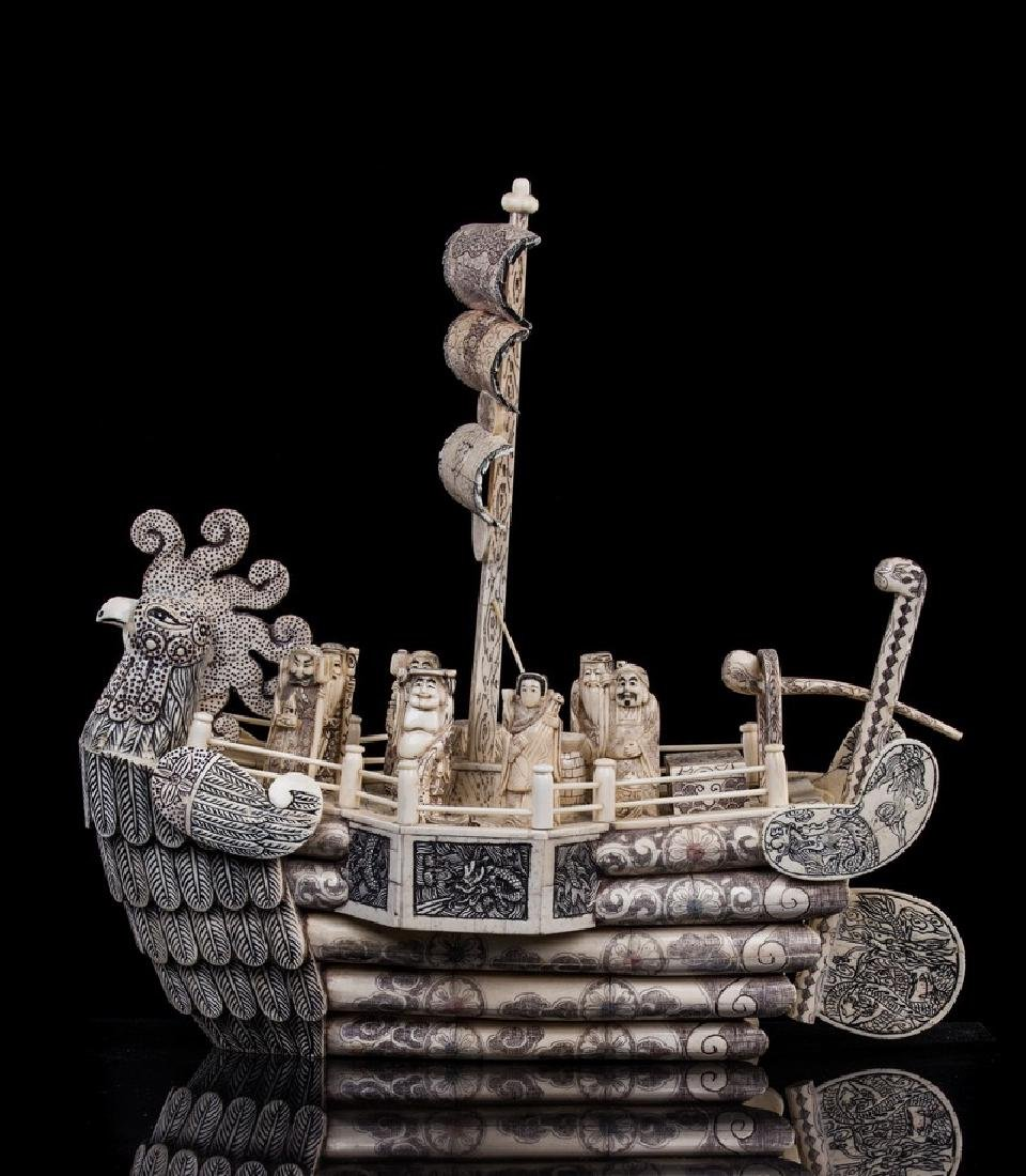 CHINESE CARVED FIGURAL BONE FISHING BOAT