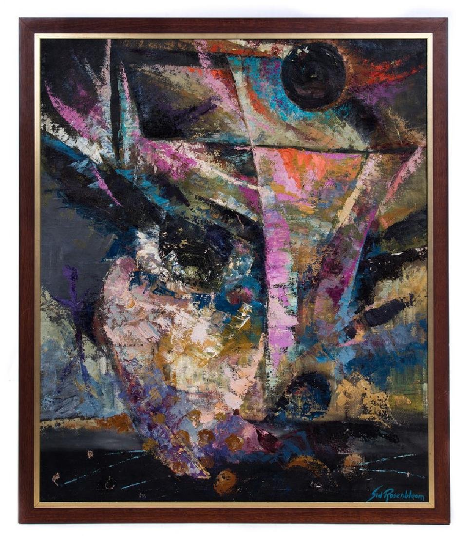 SID ROSENBLOOM ABSTRACT OIL PAINTING