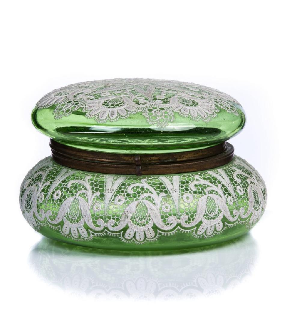 MOSER GREEN GLASS LINEN DESIGN COVERED BOX