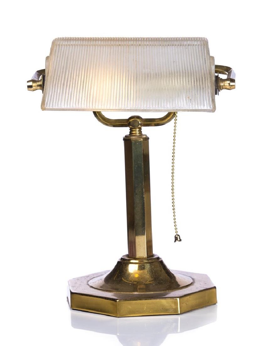 BRASS AND GLASS MODERNISTIC DESK LAMP