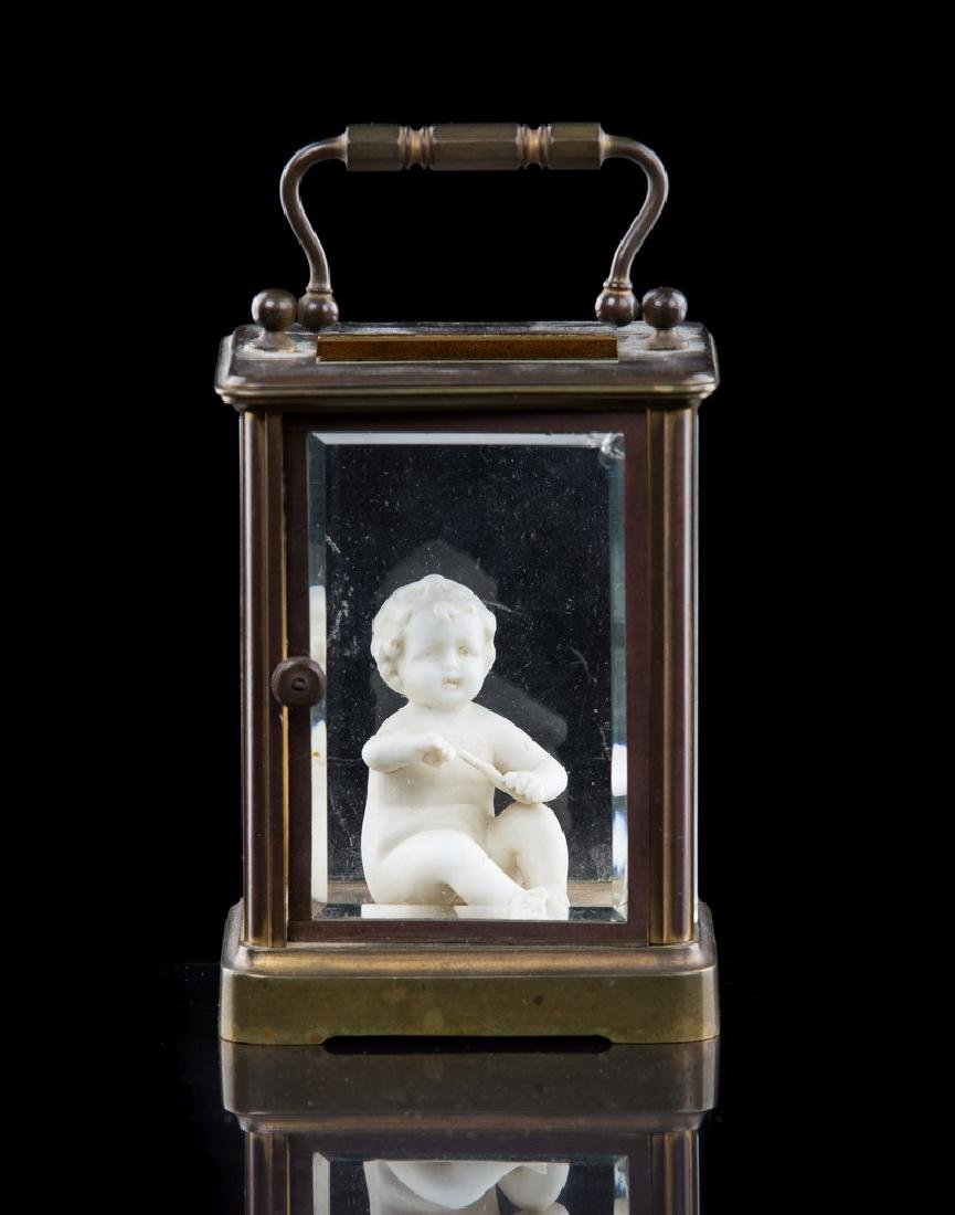 FRENCH BRONZE BISQUE BEVELED GLASS CARRIAGE CLOCK