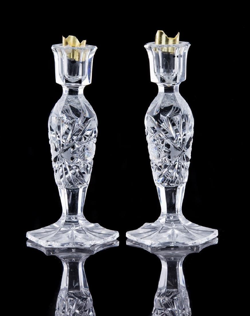 PAIR OF CUT GLASS CANDLESTICKS