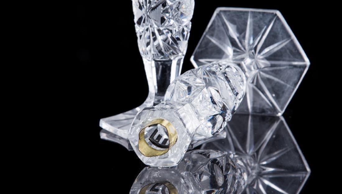 PAIR OF CUT GLASS CANDLESTICKS - 3