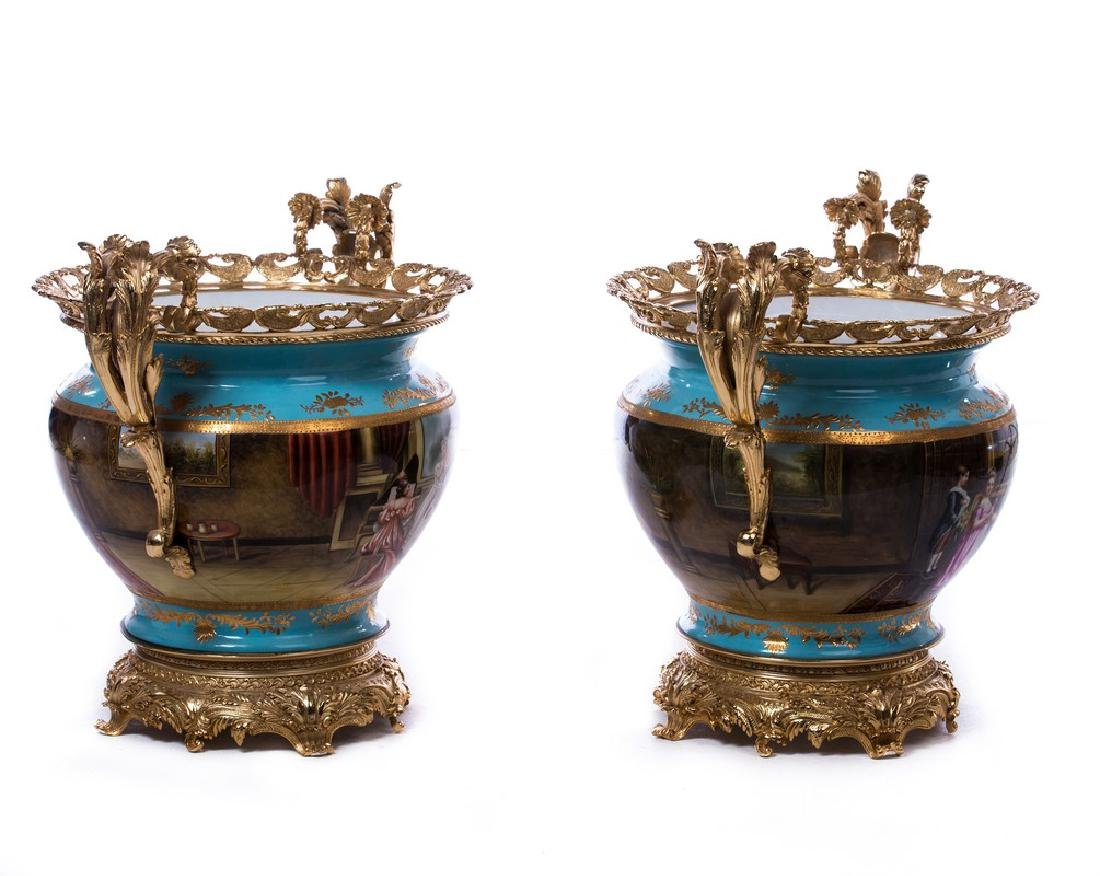 PAIR FRENCH BRONZE AND PORCELAIN CENTERPIECES - 2