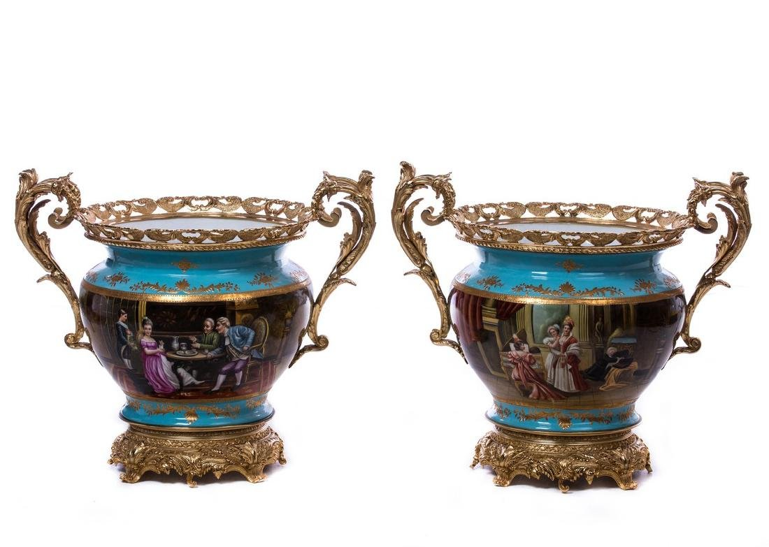 PAIR FRENCH BRONZE AND PORCELAIN CENTERPIECES - 3