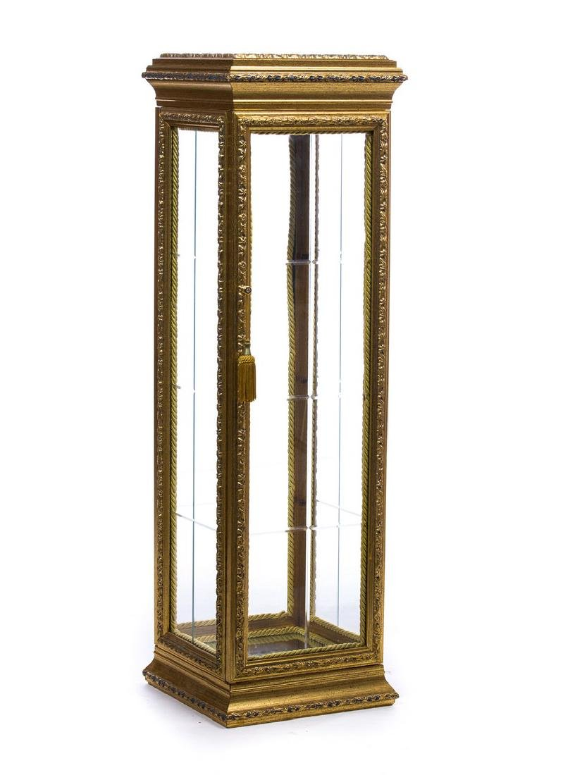 CARVED GILTWOOD ORNATE SMALL CURIO CABINET