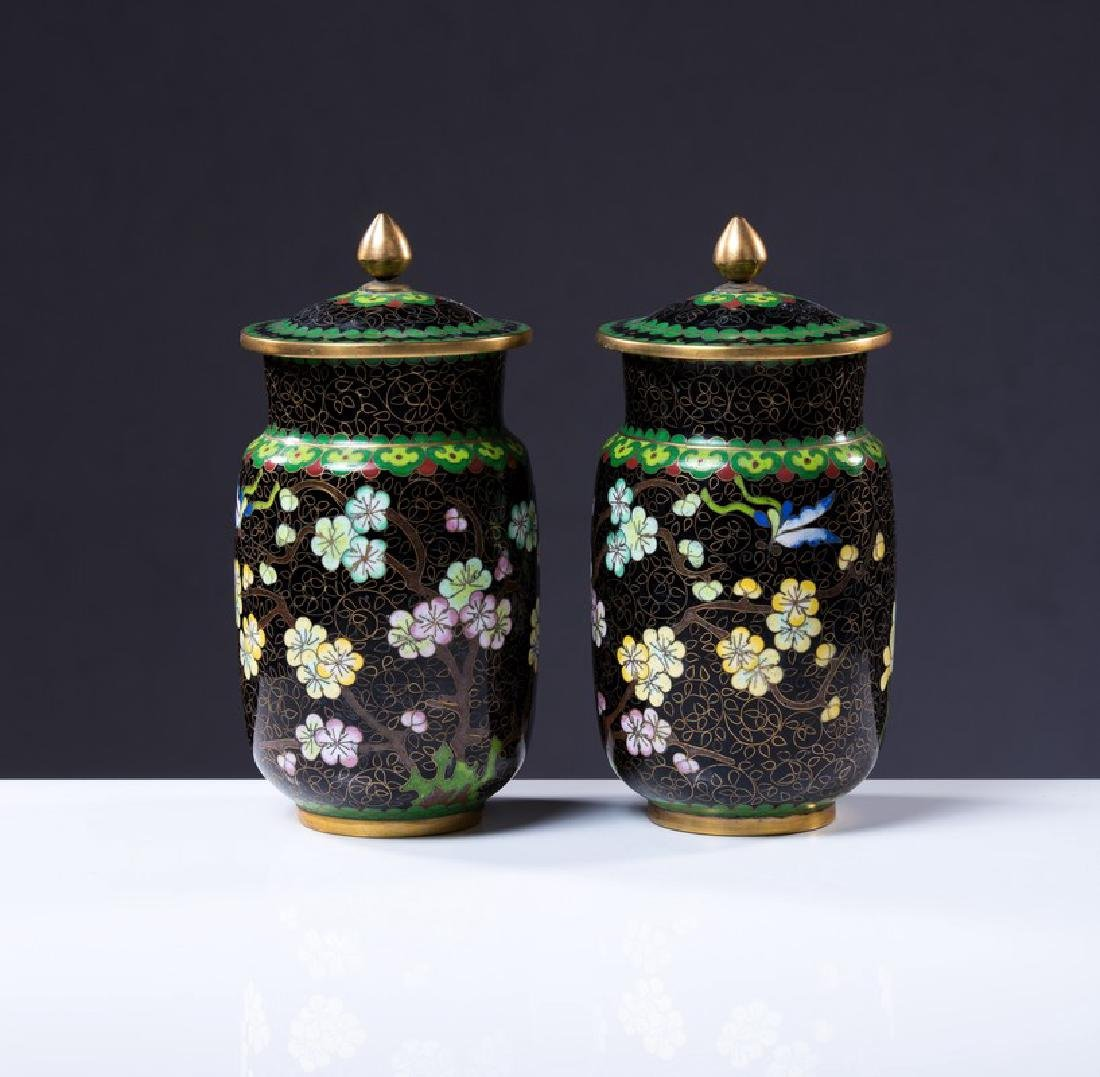 PAIR OF CHINESE CLOISONNE COVERED JARS