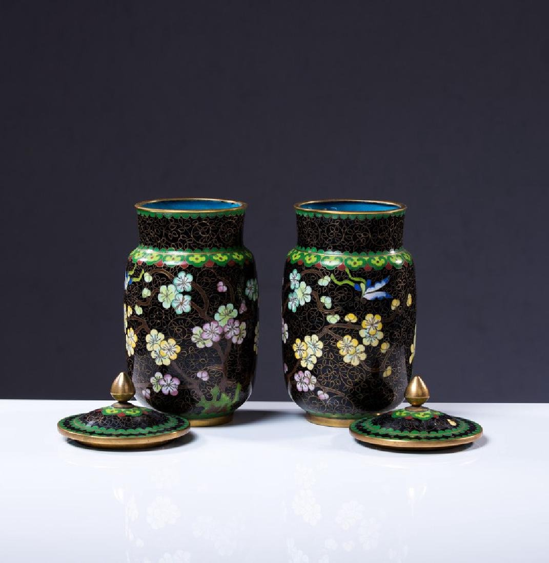 PAIR OF CHINESE CLOISONNE COVERED JARS - 2