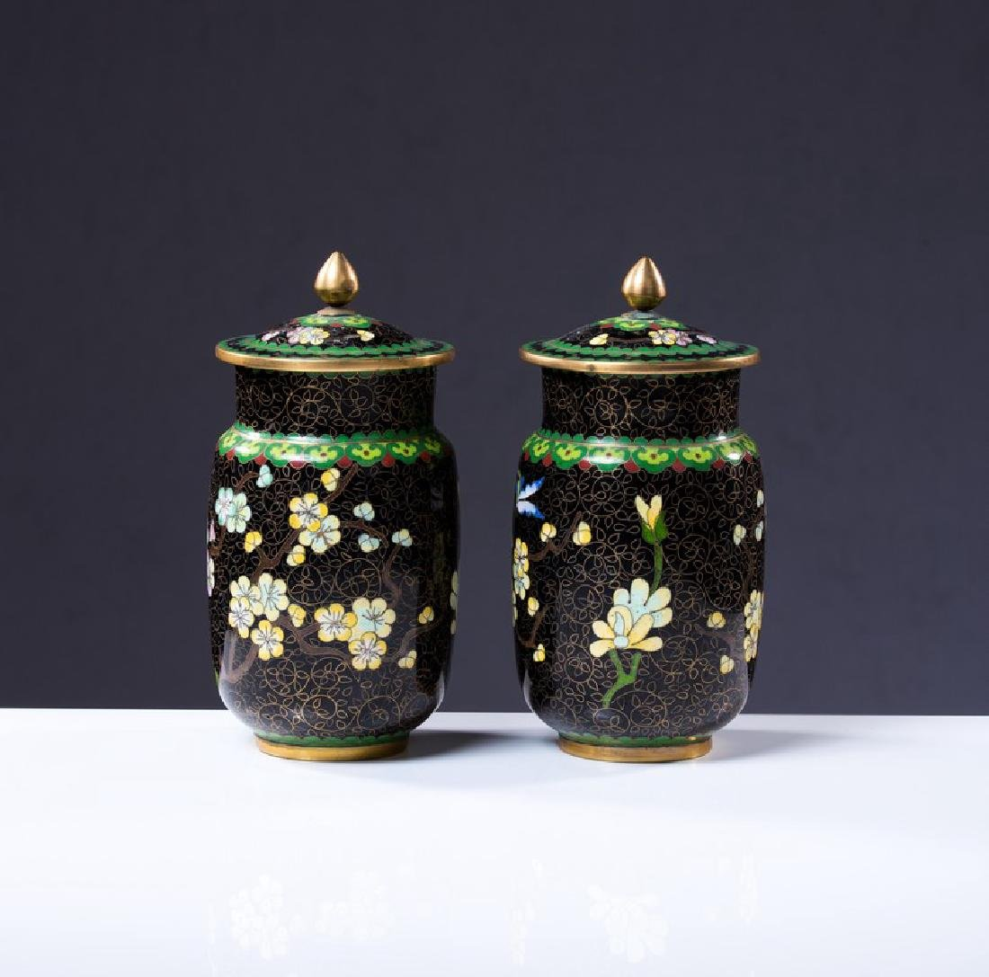 PAIR OF CHINESE CLOISONNE COVERED JARS - 3