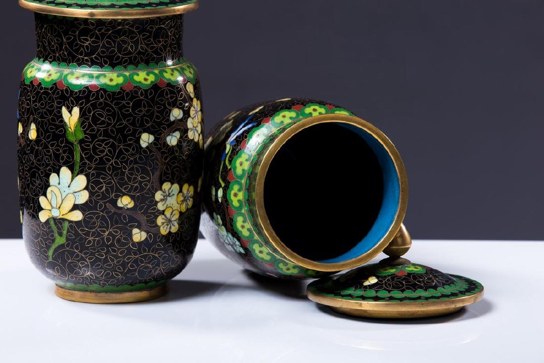 PAIR OF CHINESE CLOISONNE COVERED JARS - 4