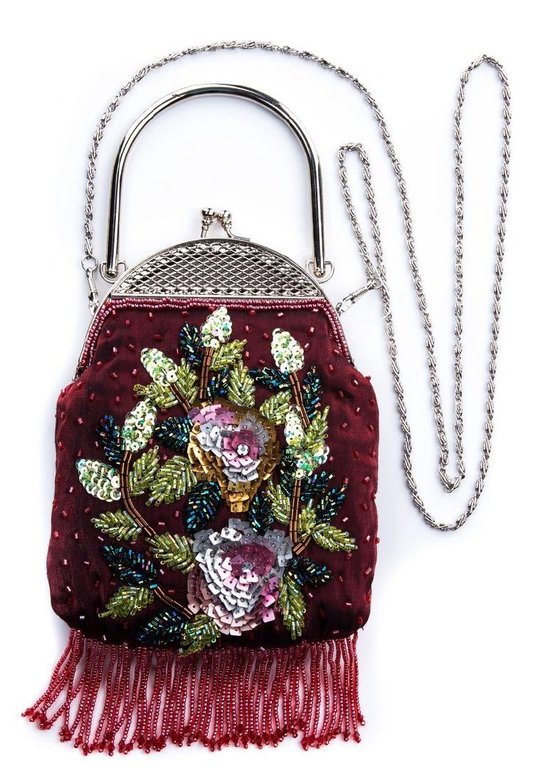 RED SATIN SEQUIN PURSE WITH FRINGE