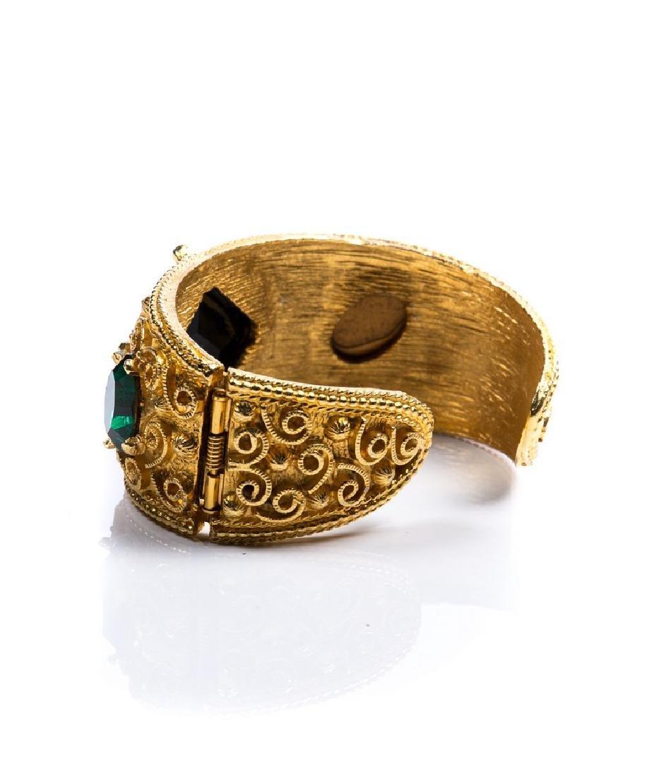 COSTUME GOLD TONE JEWELED BANGLE - 2