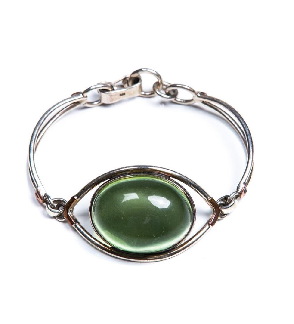 GREEN AMBER AND STERLING BRACELET