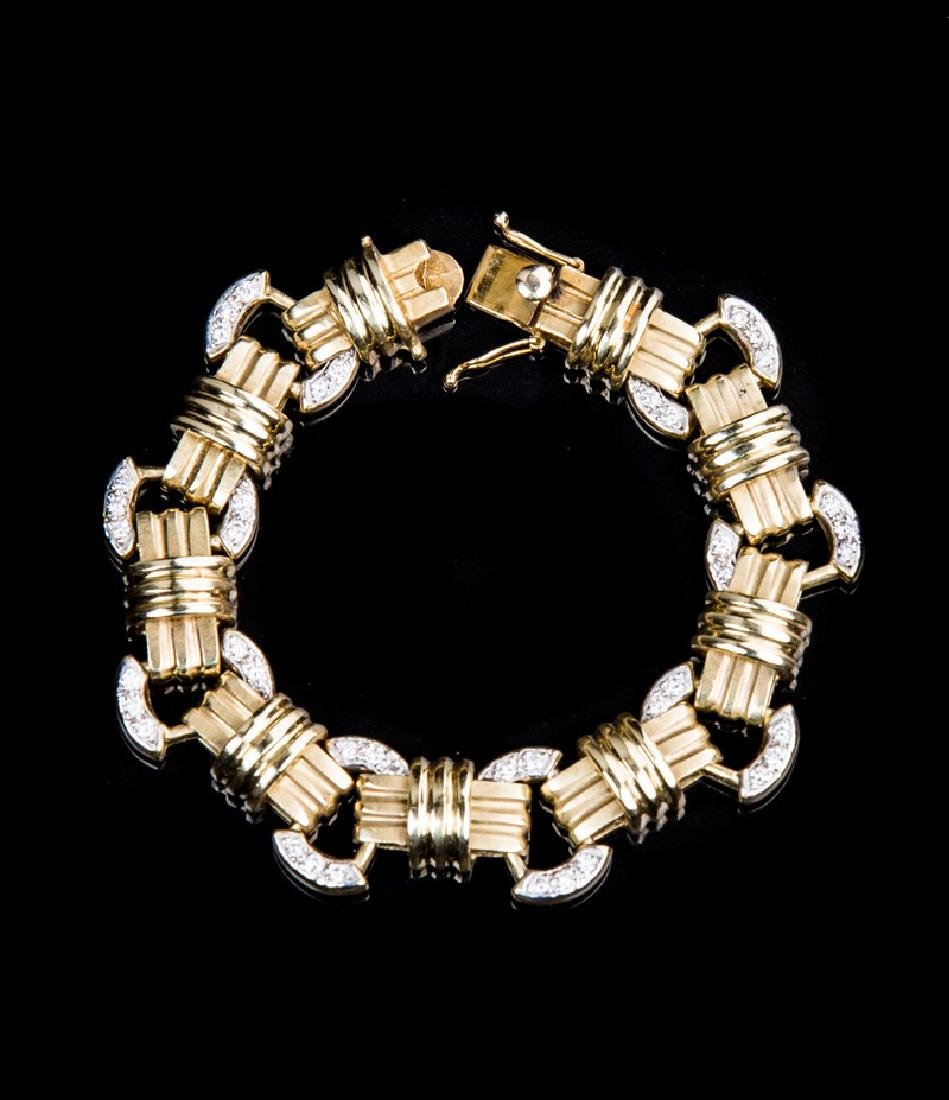 14 KT YELLOW GOLD AND DIAMOND BRACELET