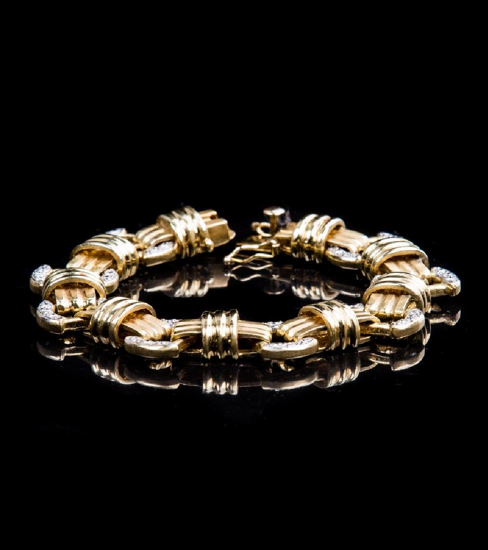 14 KT YELLOW GOLD AND DIAMOND BRACELET - 2