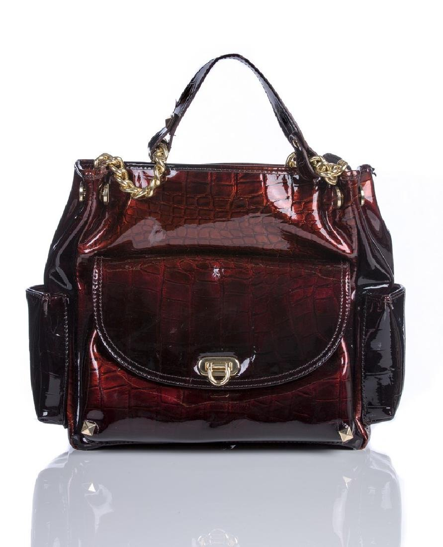KATE LANDRY NEW BRONZE RED CROC PATTERNED BAG