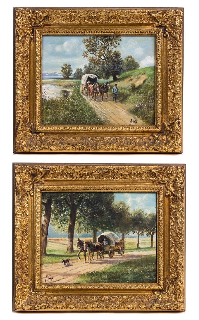 PAIR REICHL OIL PAINTING ON BOARD WAGON WITH HORSE