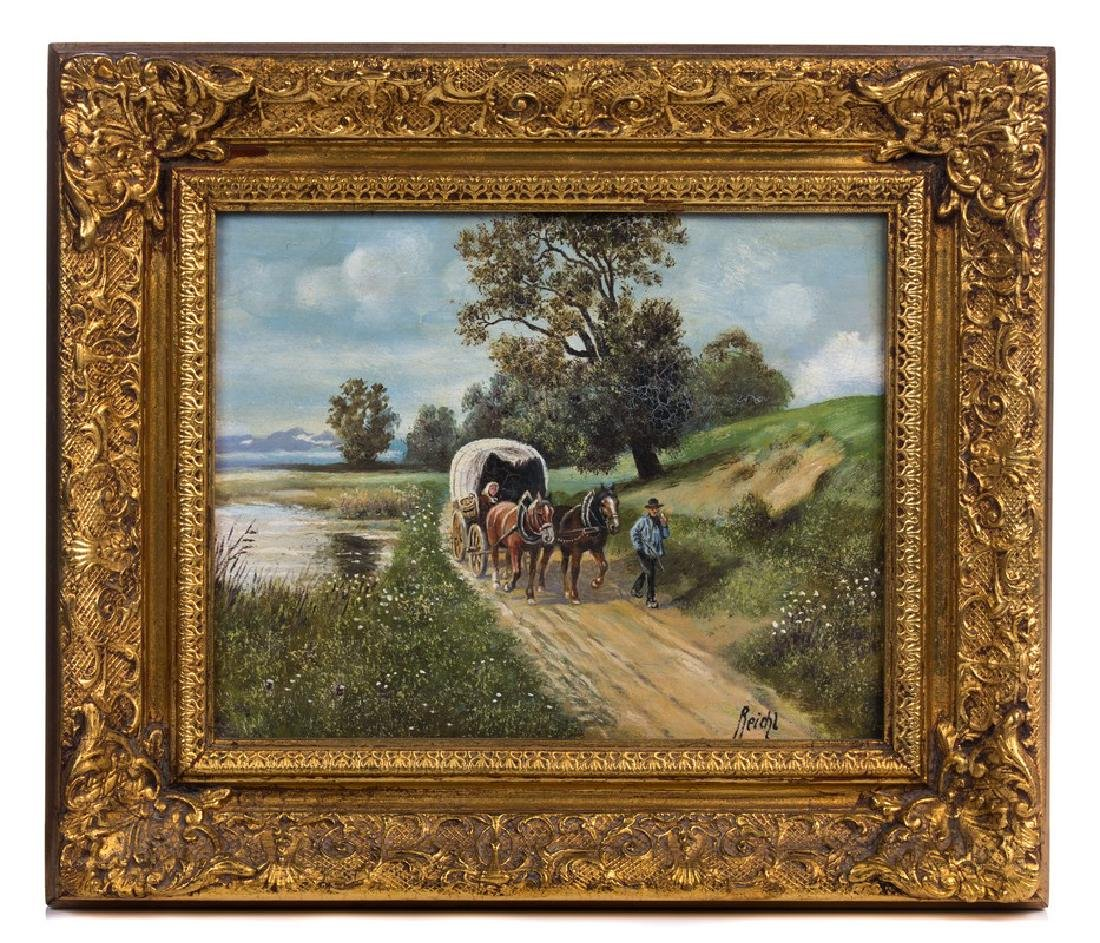 PAIR REICHL OIL PAINTING ON BOARD WAGON WITH HORSE - 2