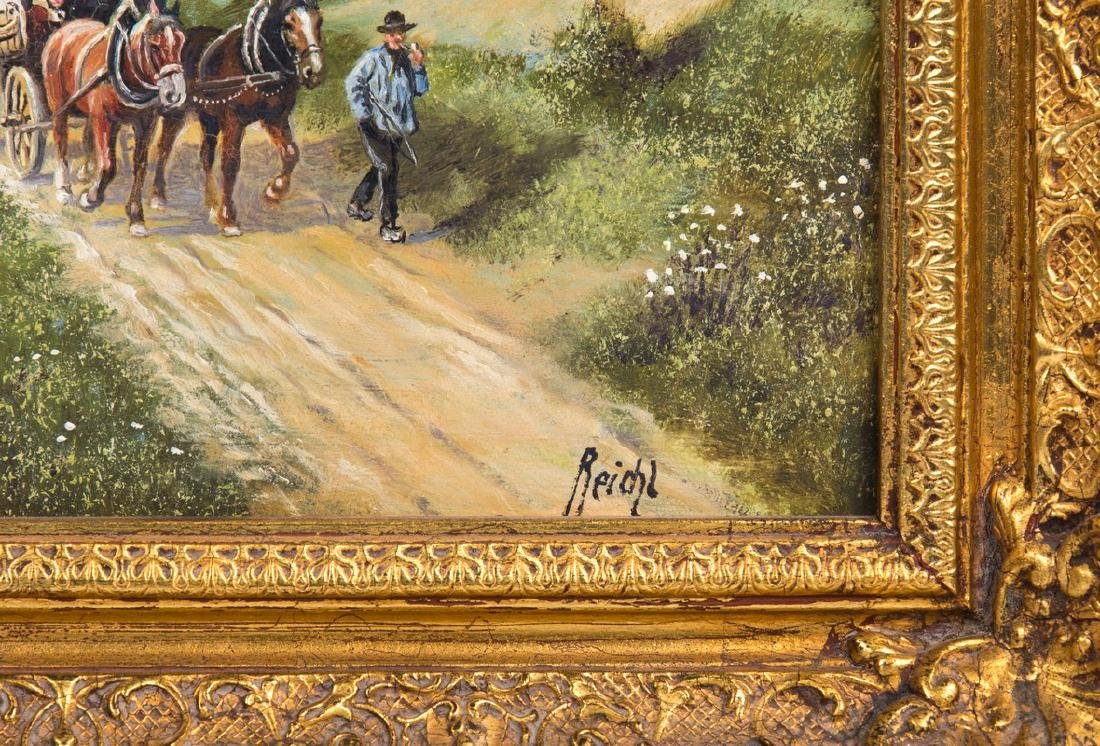 PAIR REICHL OIL PAINTING ON BOARD WAGON WITH HORSE - 3