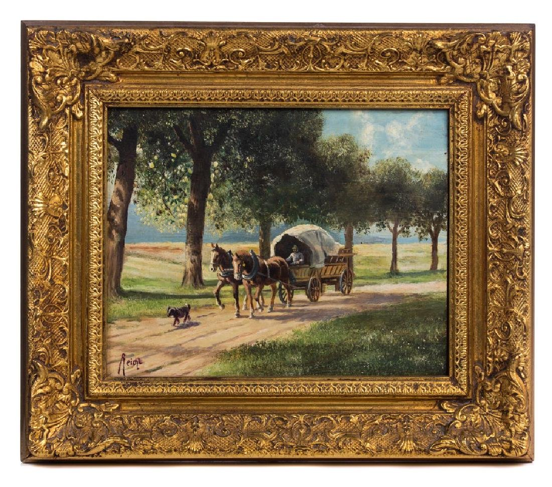 PAIR REICHL OIL PAINTING ON BOARD WAGON WITH HORSE - 6