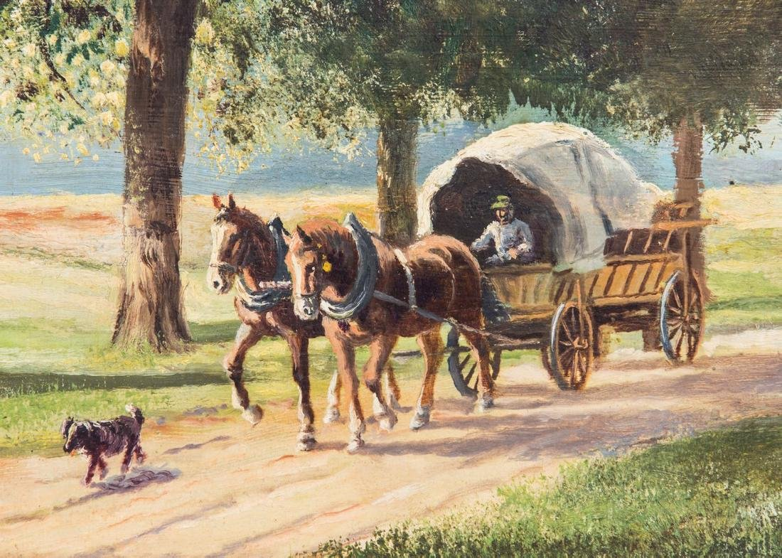 PAIR REICHL OIL PAINTING ON BOARD WAGON WITH HORSE - 7